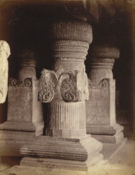 [Close view of base of pillars in the upper floor of the Jain Cave XXXIII (Jaganatha Sabha), Ellora.]